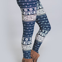 Bohemian Elephant Printed Leggings-Blue