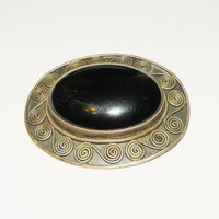 Onyx and Sterling Silver Brooch for Repair
