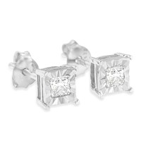 Sterling Silver 1/3ct TDW Princess Diamond Stud