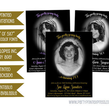 Photo Woman Birthday Invitations - Vignette Photo Invitation - Adult Milestone 50th 60th 70th 80th 90th 100th - Elegant Lady Invitation