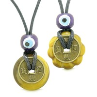 Small Tiny Lucky Coin and Lotus Flower Donut Amulets Tiger Eye Spiritual Powers Love Copules Necklaces