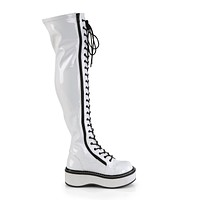 Emily 375 Goth White Patent Lace Up Thigh High Boots Flat-forms  6-12