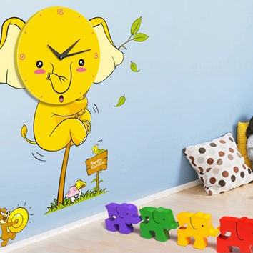 Elephant Wall Decals Clock Decor for Kids Room