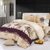 4pcs Polyester Fiber Tree Reactive Dyeing Bedding Sets With Duvet Cover 3 Size