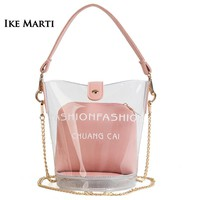 New Fashion Women Transparent Messenger Bags Waterproof Small Bucket Shoulder Bag Jelly Candy Chain Handbags for Girls Female