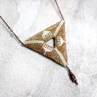 Geometric Bead Woven Beige Necklace, 3D Triangle Pendant, Camel Color Bohemian Necklace, Double-Sided Pendant, Two-Sided Necklace