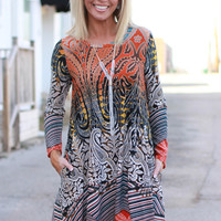 Call It As You See It Mix Print Tunic/Dress With Pockets ~ Rust ~ Sizes 4-10