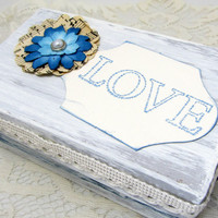 Keepsake Box - Winter Wedding Keepsake - Gift Box - Blue and White Box - Shabby Chic Box - Holiday Gift Box - Wedding Gift - Love Keepsake