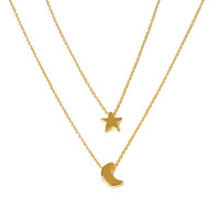 New Charming Fine Jewelry Moon Stars Shaped Female Short Paragraph Clavicle Chain Necklace Color Gold Silver Plated