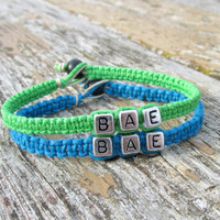 BAE Bracelets for Couples, Neon Green and Turquoise Bamboo and Hemp Handmade Jewelry