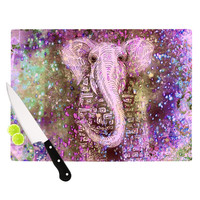 "Marianna Tankelevich ""Pink Dust Magic"" Elephant Sparkle Cutting Board"