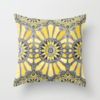 Sunny Yellow Radiant Watercolor Pattern Throw Pillow by Micklyn