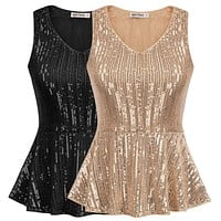 Casual Tops Women Shirts Stunning Sequined Tops Sleeveless V-Neck Peplum Hem Slim Fit Summer Blouses Clothes Female Ladies 2020