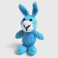 """Little Hand Knit Bunny - Stuffed Animal Easter Toy Bunny Doll - Baby Boy Newborn Photo Prop Blue Easter Bunny Rabbit Stuffed Toy 4 3/4"""" Tall"""
