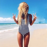 Newest Striped High Neck Halter Slim Cut One Piece Swimsuit Women 2016 Bathing Suits Sexy Beach Bodysuit Bandage Swimwear