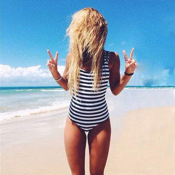 Newest Striped High Neck Halter Slim Cut One Piece Swimsuit Women 2017 Bathing Suits Sexy Beach Bodysuit Bandage Swimwear