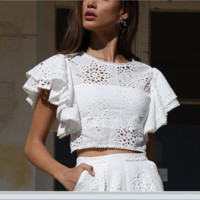 Women's dresses are hot sellers with sexy lace short-sleeved cut-out embroidered tops