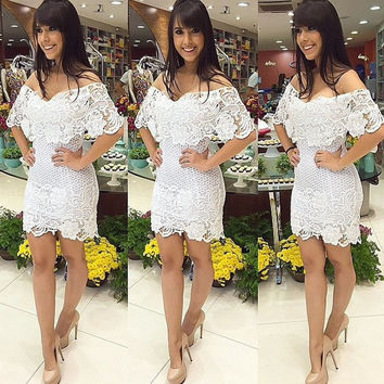 Womens Lace Sexy  Cocktail Summer Prom Dress,White = 5617179393