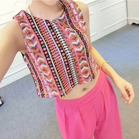 Bohemian Style Tribal Print Striped Sequins Crop Top Vest