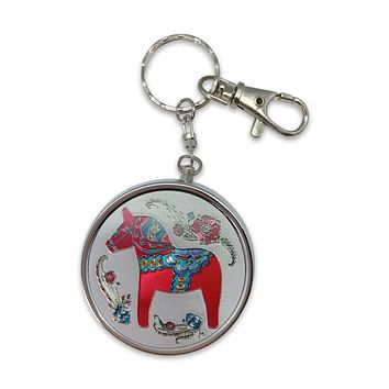 Red Dala Horse Metal Round Pill Box Keychain