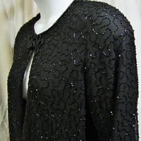Evening Jacket, Black Beaded, Special Occasion, Party Cocktail, JMD New York, Size L Large, Resort Cruise Wear