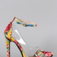 Women's Liliana Floral Lucite Pointy Toe Stiletto Pump