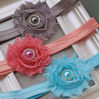 Shabby Flower Baby Headband Set - 3 Shabby Chic Flowers with Coordinating Centers & Bands - Soft Flower Headbands for Babies and Toddlers