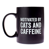 Motivated By Cats And Caffeine Mug in Matte Black