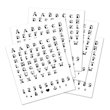 Alphabet, Numbers and Symbols Temporary Tattoos -  Set of 5