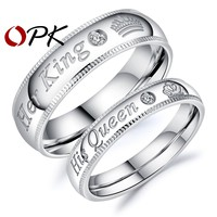 """Cool OPK 2017 New Arrival Romantic Couple Rings """"Her King His Queen"""" Stainless Steel Engraving Ring For Lover Best Jewelry Gift GJ607AT_93_12"""