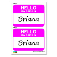 Briana Hello My Name Is - Sheet of 2 Stickers