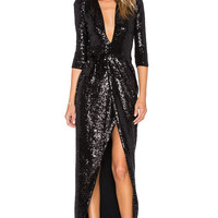 Zhivago Sovereign of Stars Wrap Gown in Black