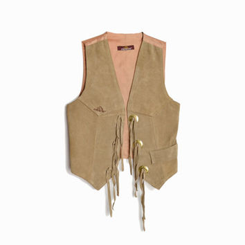 Vintage Fringed Leather Vest / Wild West Vest / 90s Leather Vest by Jordache - women's small/medium