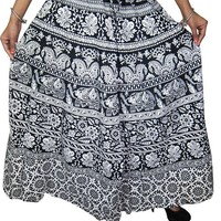 Skirt- White Black Cotton Printed Long Womens Skirts India Clothing