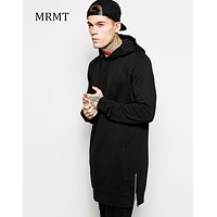 2017 Streetwear Men's Long Black Hoodies Sweatshirts Feece extra long Hoody Side Zip Longline Hip Hop elongated for men Hoodie