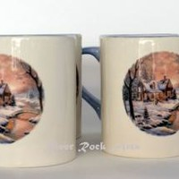 Lavender Blue Christmas Cabin Ceramic Mug Set (4)