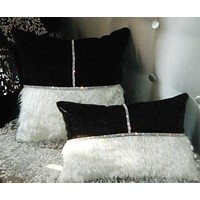 Elegant Velvet Diamond Strip Design Cushion Cover For Decor