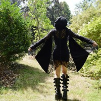 Draped Lace Hooded Cardigan