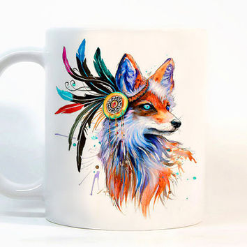 Red fox coffee mug Fox mug Watercolor Mug Gift mug Tea Cup, Gift for her, Gift for him, Printed mug, Ceramic mug