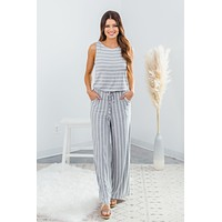 Work For It Jumpsuit - Heather Grey/Ivory