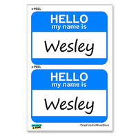 Wesley Hello My Name Is - Sheet of 2 Stickers