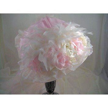 Ladies Ivory Victorian Touring Hat with Pink Crown #16012