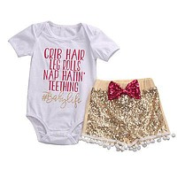 born Cute Baby Girls Clothing Set Cotton crib hair Romper +Sequin Pants+Headband Outfits 3Pcs Set Clothes