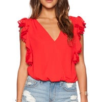 VAVA by Joy Han Dorothy Ruffle Top in Red