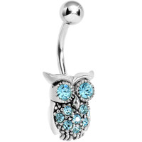 Silver 925 Aqua CZ Clever Owl Belly Ring   Body Candy Body Jewelry