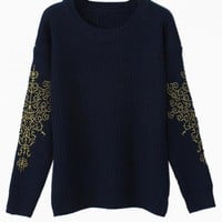 Navy Sweater with Embroidered Sleeve Detail