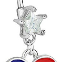 14g Surgical Steel American Flag Heart Jeweled Dangle Belly Button Ring