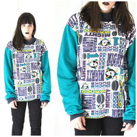 ANAHEIM mighty ducks shirt vintage early 90s UNISEX pull over TURTLE neck athletic sweatshirt large