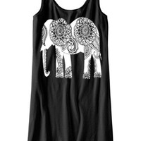 Womens Paisley Elephant BOHO Bohemian Tank Top Dress screenprint dream catcher beach coverupS M L XL More colors