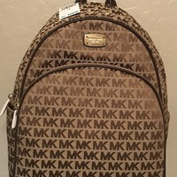 NWT MK Michael Kors Abbey Large Backpack Vanilla Java Brown Bag Purse $348